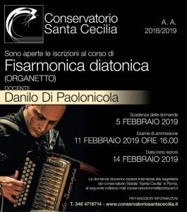 Danilo Di Paolonicola - Apertura classe di fisarmonica diatonica presso il Conservatorio Santa Cecilia