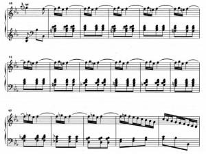 Sonata K193 (battute da 85 a 101) ripetizione di un piccolo ornamento dalla battuta 86 alla 99