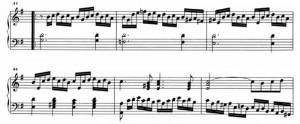 Sonata K263 (battute da 41 a 46) linee melismatiche