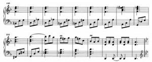 Sonata K426 (battute da 143 a 160) accordi ripetuti ossessivamente dalla battuta 138 alla 153